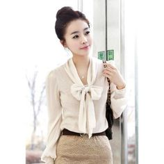 Charming Bowtie Embellished Long Sleeves Solid Color Chiffon and Cotton Blend Women's Shirt at DressLily.com