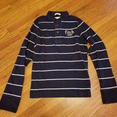 Abercrombie & Fitch Nacy Blue White Stripe Long Sleeve Shirt Boys Size Small…