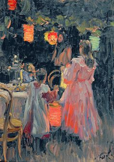 Chinese Lanterns, 1910 (oil on canvas) by Kulikov, Ivan Semyonovich (1875-1941)
