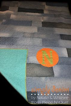 Piece N Quilt: Simply Denim Quilt Tutorial.  I have made denim rag quilts before, but this is genius!