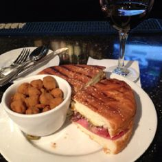 Famous Muffuletta with Fried Okra at Huey's New Orleans Cafe on the River in Savannah GA.