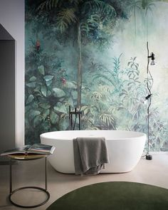 "178 Likes, 4 Comments - Massimo Speroni (@massimointeriors) on Instagram: ""Tropicana #spaziocielo #bathroom #wallpaper #tub #rug #tropical #interiordesign #interiordecorating…"""