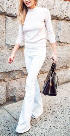 White flared jeans are always a stylish Springtime option.