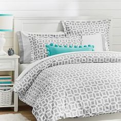 Girls Dorm Duvet Covers & Dorm Room Bedding for Girls Gray Bedroom, Trendy Bedroom, Bedroom Colors, Bedroom Ideas, Master Bedroom, Bedroom Bed, Bedroom Decor, Wall Decor, Bed Sets