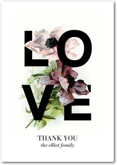 Gorgeous Love - Signature White Thank You Cards - Baumbirdy - Black : Front