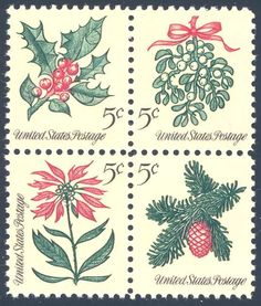 US Stamps for sale 5 cents Christmas 1964 Stamps Holly, Mistletoe, Poinsetta & Sprig of Conifer Plate Block of 4 Stamps UL 27888 Christmas Plants, Christmas Blocks, Vintage Christmas Cards, Retro Christmas, Vintage Holiday, Christmas Flowers, Christmas Items, Christmas Christmas, Vintage Stamps