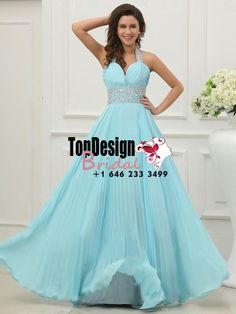 Wholesale Vestidos De Fiesta 2017 Brand New Evening Party Gown Halter Beading Blue Pleated Chiffon Prom Dresses