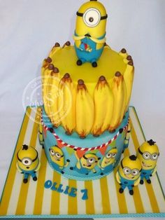 Minions 3D and 2D - Cake by chefsam