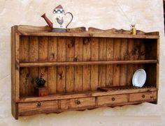 platero de madera maciza rustico, mueble de 150 de ancho 90 de alto madera y hierro a mano