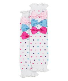 $6.99 marked down from $10! White Rainbow Sprinkles Leg Warmers #party #baby #legwarmers #infant #toddler #bows #circus #carnival #birthday #photoshoot #zulilyfinds
