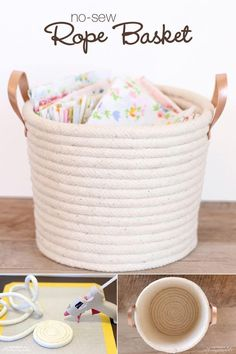Easy No-Sew Rope Basket Project Tutorial: Use rope, leather strips, and Elmer's new CraftBond Less Mess Hot Glue Sticks & Hot Glue Gun to create a simple, yet stylish basket to help keep your home organized. (diy projects using rope) Glue Gun Crafts, Rope Crafts, Kids Crafts, Diy And Crafts, Easy Crafts, Flower Crafts, Diy Y Manualidades, Basket Crafts, Dyi Baskets