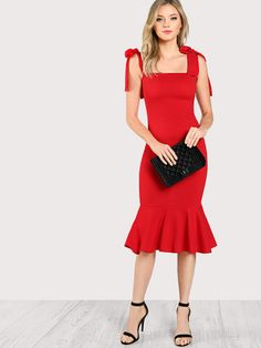 126db65ea268 Fishtail Dress With Tied Strap -SheIn(Sheinside) Fishtail Dress, Red  Fashion,