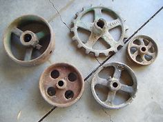 Antique Cast Iron Wheels Rustic Farm Vtg Industrial Hit Miss Metal Art LOT Gear
