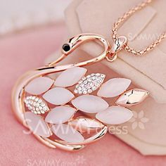 $2.62 Gorgeous Exquisite Opal and Rhinestone Embellished Swan Pendant Sweater Chain Necklace For Women