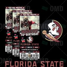 2.5x6 Florida State Seminoles Sports Party Invitation, Sports Tickets Invites, FSU Football Birthday Theme Party Template by sportsinvites on Etsy