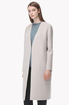 Zipper pocket collarless long line coat