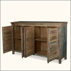 Reclaimed Wood Furniture Rustic Shutter Doors Buffet Sideboard Cabinet - rustic - Buffets And Sideboards - Sierra Living Concepts :: $1799