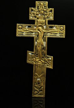 ANTIQUE ORIGINAL PERFECT ENAMEL BRONZE BIG CROSS