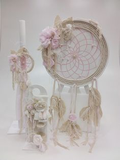 DreamCatcher Baptism Themes, Baptism Party Decorations, First Communion Decorations, Dream Catcher Tutorial, Tribal Baby Shower, Large Paper Flowers, Girl Christening, Boho Baby, Girl Shower