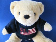 Ralph Lauren Teddy Bear U.S. Flag Sweater 15 in. Tall Plush Jointed Legs  #RalphLauren