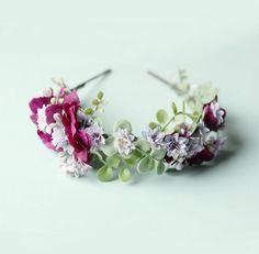 Purple leaf flower crown Bridal hair Boho flower by whichgoose, $68.00