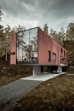 Contemporary | cantilever | floating | residential | Architecture | rustic | steel | cladding | facade | glass | proportion