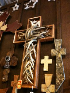 Antler wood wall cross western decor I LOVE THIS!