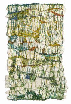 Sheila Hicks, textile artist, is pushing the envelope but it is fabric and it is woven threads. idea di reinterpretazione della mappa- forme indefinite-pieni e vuoti che si alternano.