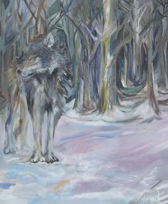 """Mischievous Wolf"" Oil on Canvas http://melissaburgher.com #wolf #painting"