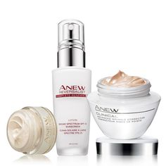 A $72 value, the collection includes: Anew Ultimate Multi-Performance Day Cream Broad Spectrum SPF 25 Try-It Size, Anew Reversalist Complete Renewal Day Lotion Broad Spectrum SPF 25, Anew Clinical Advanced Wrinkle Corrector. Regularly $41.00, shop Avon Skincare online at http://eseagren.avonrepresentative.com
