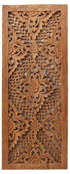One Kings Lane - Asian Art Imports - Carved Teak Panel Modern Wooden Doors, Wooden Door Design, Wooden Art, Wood Doors, Wood Design, Wood Sculpture, Sculptures, 3d Cnc, Wood Carving Designs