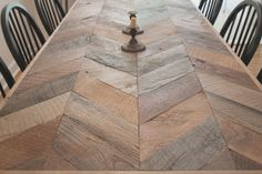 jersey ice cream co. -- This table is ridiculous. Wooden Dining Tables, Dining Table Design, Patio Table, Chevron Table, Esstisch Design, Diy Pallet Furniture, Industrial Furniture, Furniture Design, Home Goods Decor