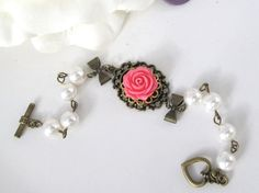 Victorian Style Inspired Pink Rose Ribbon bows bracelet