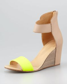 Fluorescent-Strap Cuffed Wedge by MM6 Maison Martin Margiela at Neiman Marcus.