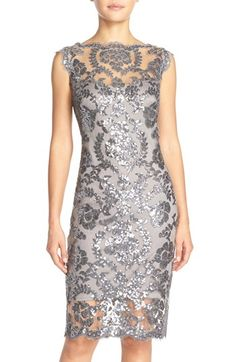 Steel color Tadashi Shoji Sequin Illusion Lace Dress (Regular & Petite) at Nordstrom.com. The always-chic bateau-neck sheath is elevated to black-tie glam in shimmery sequin-embroidered lace left sheer at the yoke and hem.