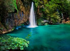 A waterfall drops into a tranquil, turquoise pool at Plitvice Lakes in the interior of Croatia. Plitvice Lakes is a series of sixteen lakes connected by hundreds of waterfalls. See more of Croatia here John & Tina Reid Dream Vacations, Vacation Spots, Oh The Places You'll Go, Places To Travel, Plitvice Lakes National Park, Favim, Travel Photographer, Albania, Macedonia