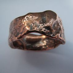 Mens wedding ring rustic copper silver wedding band unique ring