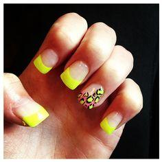 Florescent Leopard Gel Nails.