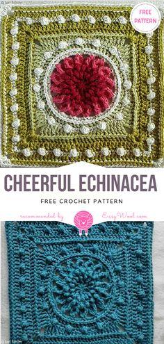Cheerful Echinacea Free Crochet Pattern   EASYWOOL Crochet Squares Afghan, Crochet Square Patterns, Crochet Blocks, Granny Squares, Crochet Motif, Crochet Stitches, Knit Crochet, Crochet Gifts, Cute Crochet