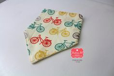 Bandanna Bib - Organic Cotton and Bamboo Terry Baby Bib- Bicycles Organic Cotton-Adjustable Snaps- READY to SHIP