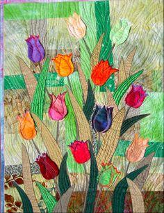 "Bozena Wojtaszek ""Tulips"", art quilt"