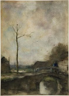 Jacob Maris Dutch (The Hague, The Netherlands 1837 - 1899 Karlsbad, Czech Republic) Landscape Drawing Dutch, 19th century Watercolor and gouache on off-white wove paper 37.3 x 26.1 cm (14 11/16 x 10 1/4 in.)