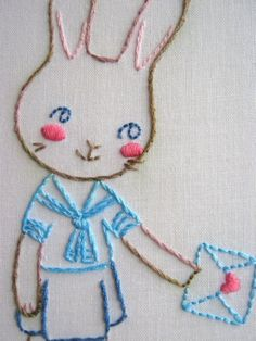 Bunnies in Love Embroidery Pattern PDF. $3.00, via Etsy.