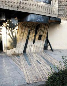 Unique bent wood facade in Iran, Dayereh Snack Bar, Circle Snack bar by Farshad Mehdizadeh, cool facade design