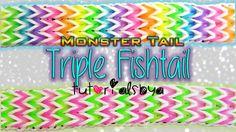 Make a Compact Triple Fishtail on the Monster Tail Rainbow Loom Rainbow Loom Tutorials, Rainbow Loom Patterns, Rainbow Loom Creations, Rainbow Loom Bands, Rainbow Loom Bracelets, Loom Love, Fun Loom, Loombands Tutorial, Monster Tail Bracelets