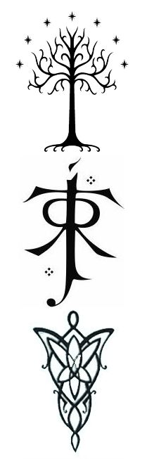 Tree of Gondor Tolkien symbol and Evenstar outlines going down spine (under my existing elvish script tattoo)
