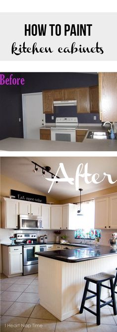 How to paint kitchen cabinets white - I Heart Nap Time | I Heart Nap Time - Easy recipes, DIY crafts, Homemaking How To Paint Kitchen Cabinets White, Painting Kitchen Cupboards, Repainted Kitchen Cabinets, Painting Cabinets, White Kitchen Cabinets, Kitchen Paint, Easy Recipes, Ugly Kitchen, Nice Kitchen