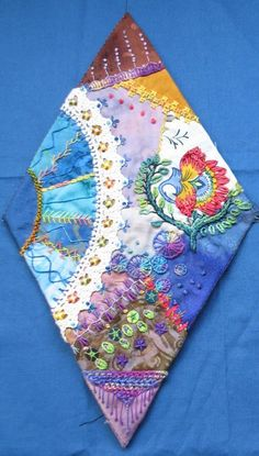 A diamond shaped crazy quilt block! I ❤ crazy quilting embroidery . ..CQJP February block ~By Brigitte Otto