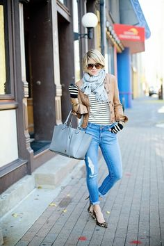 From the scarf to the stripe/stripe/leopard combo, this is a great look.