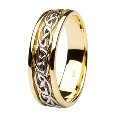 The ShanOre mens wedding ring, made of 14 Karat yellow and white gold, is a ring to cherish and to pass down from one generation to the next. The yellow gold band is surrounded by an interlocking wave pattern in white gold, weaving between a band of white gold on each side. ShanOre made this ring with a unique feature